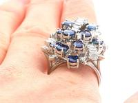 5.25ct Sapphire & 1.33ct Diamond, 14ct White Gold Cocktail Ring - Vintage c.1970 (9 of 9)