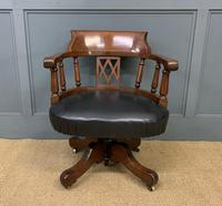 Victorian Mahogany & Leather Revolving Desk Chair (2 of 11)