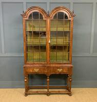 Burr Walnut Double Dome Topped Display Cabinet (2 of 18)