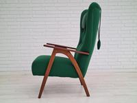 Danish high-backed armchair, 60s, KVADRAT furniture wool, teak wood, renovated-reupholstered (2 of 16)