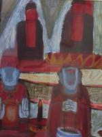 Large watercolour Temple Scene Listed Vietnamese artist Kha Nygun (9 of 10)