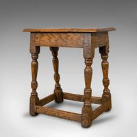 Small Antique Joint Stool, Oak, Seat, Side Table, Jacobean Revival, Victorian (8 of 11)