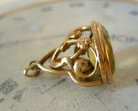 Antique Pocket Watch Chain Fob 1910 Art Nouveau Big Rose Gilt & Green Stone Fob (4 of 9)