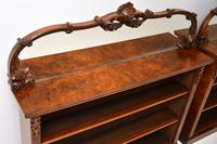 Pair of Antique Victorian Burr Walnut Mirrored Bookcases (13 of 13)
