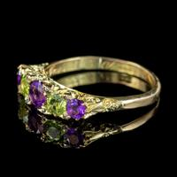 Antique Edwardian Suffragette Ring Amethyst Peridot Diamond 18ct Gold c.1904 (4 of 5)