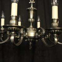 French Brass Silver Plated 8 Light Chandelier (7 of 10)