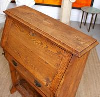 Oak Bureau Arts & Crafts Writing Desk Chest Edwardian Slim (7 of 12)