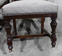 1920s Set of 4 Dark Walnut Highback Chairs in Grey (4 of 4)