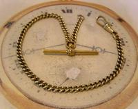Antique Pocket Watch Chain 1890s Victorian Brass Albert With Swivel T Bar (4 of 10)