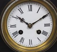 Antique French Slate Mantel Clock 8-Day Striking Mantle Clock with Red Marble & Gilt Decoration (4 of 9)