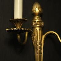 French Set of 3 Twin Arm Gilded Antique Wall Lights (8 of 10)