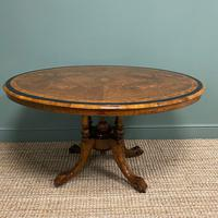 Victorian Oval Figured Walnut Inlaid Antique Side Table (3 of 7)