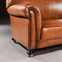 Late Victorian Leather Upholstered Drop-Arm Sofa (5 of 9)