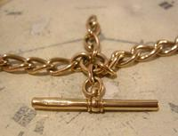 Victorian Pocket Watch Chain 1890s Antique 18ct Rose Rolled Gold Albert With T Bar (8 of 10)