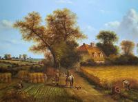 Original Victorian Harvest Countryside Landscape Oil Painting (3 of 10)