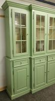 20th Century Breakfront Bookcase Painted Green (4 of 4)