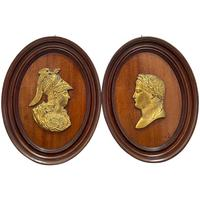 Pair of Interesting 19th Century Gilded Bronze Alexander The Great & Napoleon Cameo Plaques