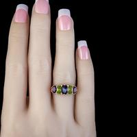 Antique Edwardian Suffragette Ring 18ct Gold Peridot Amethyst Diamond c.1910 (5 of 5)