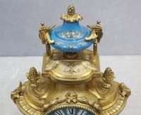 French Napoleon III Bronze Gilt and Porcelain Mantel Clock by Japy Freres (8 of 11)