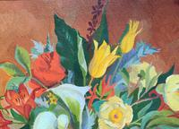 Stunning Original 1960s Vintage / Retro Floral Still Life Oil on Canvas Painting (6 of 11)