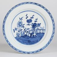English Blue & White Ceramic Chinoiserie Fence Pattern Decorated Plate 18th Century (7 of 12)