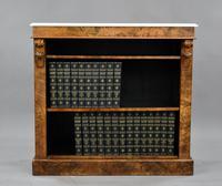 19th Century Victorian Burr Walnut Open Bookcase