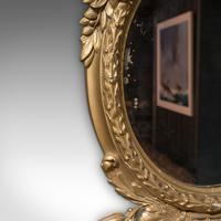 Antique Wall Mirror. French, Gilt Gesso, Oval, Ornate, Victorian c.1850 (8 of 9)