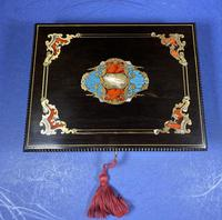 19th century French Ebony, Brass Lacquer & Red Tortoiseshell Jewellery Box (9 of 17)