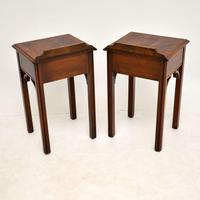 Pair of Antique Chippendale Style Mahogany Bedside Tables (11 of 12)