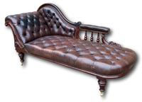 Victorian Mahogany Chaise Lounge with Button Leather Upholstery