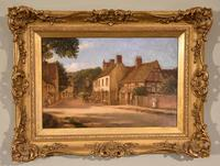 "Oil painting Pair by Alfred Kedington Morgan ""Village High Street"" (4 of 8)"
