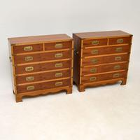 Pair of Yew Wood Military Campaign Style Chests (3 of 14)