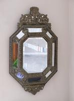 19th Century French Renaissance Style Octagonal Repousse Brass Cushion Framed Mirror (6 of 7)