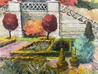 Original oil painting on board A Scottish (?) castle and formal gardens' by Barbara Lady Brassey. 1911-2010. Signed c.1980 (2 of 4)