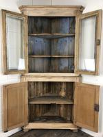 Victorian Stripped Pine Corner Cupboard with Glazed Top (8 of 11)