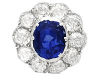 2.10ct Basaltic Sapphire & 3.30ct Diamond, 9ct Yellow Gold Cluster Earrings - Antique c.1890 (4 of 9)