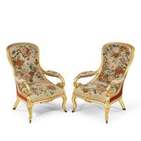 Pair of High Victorian Giltwood & Needlework Armchairs by Gillows (5 of 15)