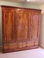 Antique Victorian Mahogany Triple Door Wardrobe (19 of 21)