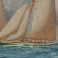 A rare painting of 1930 America's Cup racing off Newport, signed 'Harold Wyllie' (3 of 12)
