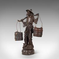 Tall Antique Decorative Figure, Chinese, Bronze, Statue, Water Carrier, C.1900 (9 of 12)