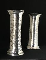 Pair of Arts and Crafts Planished Silver Plated Vases. By Lee and Wigfall. (2 of 7)