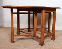 Oak Gateleg Dining Table Carved Solid Folding Kitchen Table (5 of 15)
