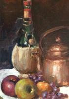 Original oil on canvas laid on to board 'Still life of bottles and fruit' attributed to Anna Airy 1882-1964. Unsigned c.1920 (2 of 2)
