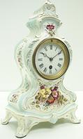 Antique 8 Day Porcelain Mantel Clock Sevres Egg Shell Blue Floral French Mantle Clock (3 of 12)