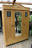 Fabulous Old Pine Triple 'Knock Down' Arts & Crafts Wardrobe (6 of 11)
