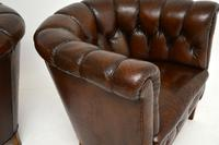 Pair of Antique Swedish Leather Chesterfield Armchairs (10 of 12)