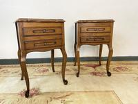 Vintage French Pair of Louis Style Bedsides Tables Oak Cabinets (5 of 12)