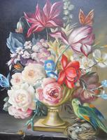 Oil on Canvas Still Life with Parakeet Artist George Rennie (3 of 11)