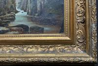 Small Original 19th Century Victorian Woodland River Landscape Oil Painting (10 of 12)