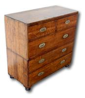 19th Century Oak Campaign Chest of Drawers (3 of 7)